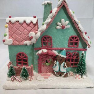 Illuminated Pastel Gingerbread House by Valerie